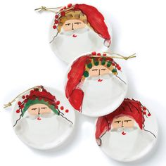 Handpainted by maestro artisan Alessandro Taddei, the Old St. Nick Assorted Ceramic Ornaments feature Babbo Natale in his various holiday hats. Decorate your tree or give as a secret santa gift to your closest friends. Gold cord included.