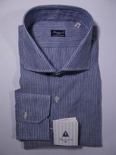 FINAMORE camicia UOMO sartoriale classica LINO COTONE righe tg.46 - (in.18½) NWT
