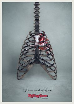 "Students from the Accademia di Comunicazione collaborated with the Milan-based DLV BBDO agency to create this anatomical ad. It celebrates the 10th anniversary of Rolling Stone Magazine and declares, ""We Are Made of Rock"" with a metallic rib cage resembling an electric guitar and a bright red heart peeking through."