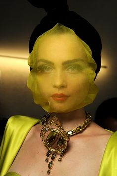 Jean Paul Gaultier, Haute Couture Spring/Summer 2010. i like the yellow veil. she looks like nina hoss, in a way