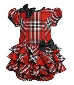 Bonnie Baby Infant Plaid Drop-Waist Dress with Panty