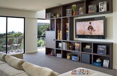 contemporary box shelves TV unit Think Inside the Box: Creating Purposeful Wall Art with Box Shelving