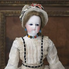 """14"""" Very Rare Antique French Fashion doll by Brasseur-Videlier, original dress"""