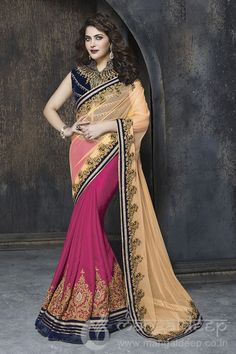 http://www.mangaldeep.co.in/sarees/designer-party-wear-sarees/admirable-beige-and-pink-designer-party-wear-saree-4915 For further inquiry whatsapp or call at +919377222211