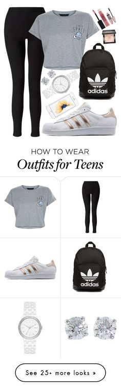 """BACK TO SCHOOL OUTFITS #1"" by beautybyee on Polyvore featuring Miss Selfridge, New Look, adidas Originals, Tiffany & Co., DKNY, Maybelline, Givenchy and statementnecklaces"