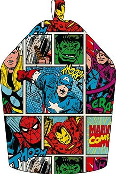 Marvel Comics Thor, Hulk und Spiderman Sitzsack, Stoff, Grau, 52 x 38 x 52 cm. Coole Sitzgelegenheit für das Superhelden Kinderzimmer. Fans dieser Comic strip-style Marvel Sitzsack lieben werden. Das Superhelden Leap in Aktion auf dieser bequeme Sitzsack. Das exklusive Design ist hell und ein Hingucker, ideal für ein Schlafzimmer oder Spielzimmer. Farbenfrohe comic-strip Stil #Marvel #Comics Sitzsack für das #kinderzimmer   *werbung
