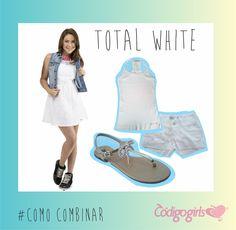 """o #ComoCombinar de hoje é #TotalWhite!  é suuuuper tendência e deixou de ser um look """"a la ano novo""""  #White #Tendência #Fashion #CódigoGirls"""