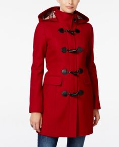 Tommy Hilfiger Hooded Toggle Walker Coat - Red XS