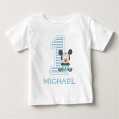 Mickey Mouse Personalized First Birthday Baby T-Shirt , Mickey Mouse First Birthday, First Birthday Shirts, Mickey Mouse T Shirt, Disney Birthday, Birthday Kids, Surprise Birthday, Birthday Parties, Mickey Ears, Birthday Cakes
