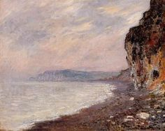 """""""Cliffs at Pourville in the Fog"""" ・ by Claude Monet ・ Completion Date: 1882 ・ Style: Impressionism ・ Genre: landscape"""