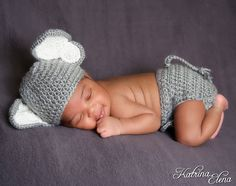 New Item Baby Elephant Hat and diaper cover/ by WillowsGarden