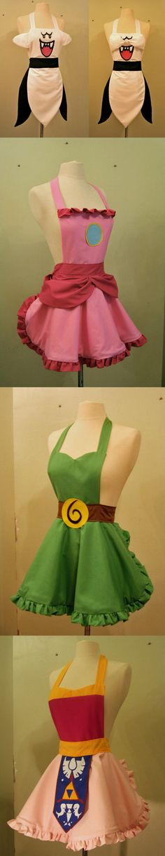 Video Game Aprons | Mostly, I just love the Link one.