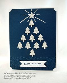 handnade Christmas card ... navy with white and silver glitter paper ... triangle tree shape from little tree punches .... luv it!! ... Stampin' Up!