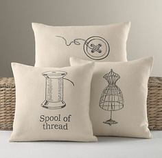 Dressmaker linen pillow covers - would be cute in a sewing room/guest room Sewing Pillows, Linen Pillows, Decorative Pillows, Cute Pillows, Diy Pillows, Funny Pillows, Throw Pillows, Restoration Hardware Baby, Art Du Fil
