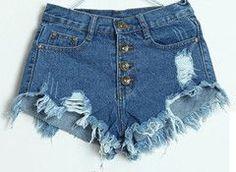 Women Hot Jeans Button Front High Waist Ripped Denim Short Shorts  Destructed Destroyed Jean Blanco 981c31bb414