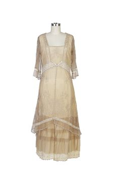 Nataya 2101 Women's Titanic Vintage Style Dress in Butter (X-Large). Cotton, Lace, Tulle. Tea length. 3/4 Length Sleeves. Scoop Neckline.
