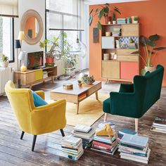 80 Excellent Vintage Living Room Decor Ideas And Remodel Retro Living Rooms, Colourful Living Room, Home Living Room, Living Room Designs, Living Room Decor, Living Room Vintage, Blue And Orange Living Room, Living Spaces, Home Design