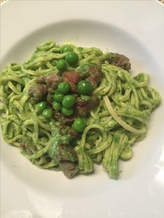 tagliolini with a sauce made from farm fresh peas, pureed and sausage #trieste #homecooking #food #delicious