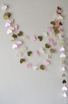 Pink Gold glitter Ivory heart paper garland Pink by HelenKurtidu Purple Walls, Purple Gold, Bachelorette Party Decorations, Baby Shower Decorations, Glitter Hearts, Gold Glitter, Decoupage, Pink And Gold Wedding, Heart Garland