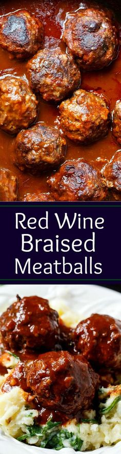 Braised Meatballs in Red Wine Gravy over Gruyere Spinach Mashed Potatoes.