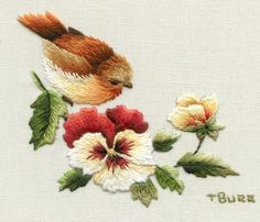 I ❤ embroidery . . . Vintage Robin & Pansy ~By Trish Burr