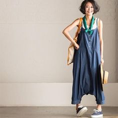 Korean Plus Size Casual Cowboy Overalls N685AG