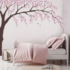 Weeping Willow Tree Decal for your baby nursery. Subtle weeping willows and cherry blossoms in a tree wall decal. Weeping Willow Tree Decal with Cherry Blossoms, Baby Girls Nursery Wall Decal, Willow Tree Wall Decal, Nursery Decoration 1117 Weeping Willow, Willow Tree, Nursery Wall Decals, Nursery Decor, Nursery Murals, Girl Nursery, Cherry Blossom Bedroom, Cherry Blossom Decor, Tree Decals