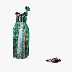 Rochas corseted bodice dress, $2,390,modaoperandi.com; Tabitha Simmons Sprinkles Fest embroidered sandals, $625, mytheresa.com