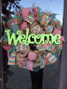 Welcome Spring/summer burlap chevron polka dot wreath on Etsy, $70.00