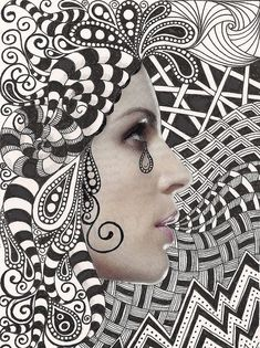 Take a magazine picture and zentangle around | http://my-beautiful-arts-collections.blogspot.com
