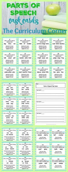 Parts of Speech Task Cards FREE from The Curriculum Corner