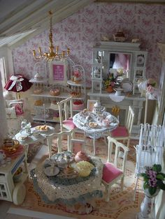 Shabby Chic Tea Salon by Linda's Miniature Musings