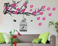 adesivo árvore galho pássaros gaiola