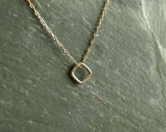 Square Drop Necklace, sterling silver diamond shape drop, genuine blue sapphire, 14K goldfilled chain, minimalist silver and gold jewelry  https://www.etsy.com/shop/bluegreenjewels