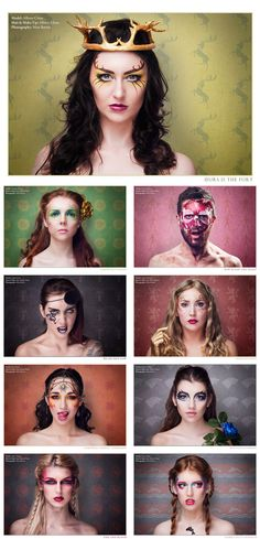 Makeup artist Allison Chase and photographer Matt Barnes collaborated to create customized looks based on nine houses from the HBO series Game of Thrones.