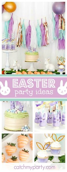 Don\'t miss this pretty Easter Bunny Bash! The dessert table is amazing!! See more party ideas and share yours at CatchMyParty.com