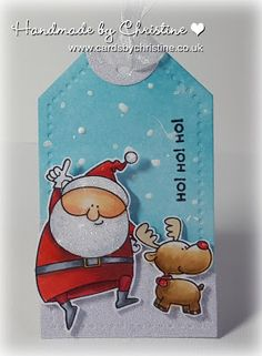 tag        card christmas MFT Jingle all the way Die-namics stamp Handmade by Christine: Santa gift tag