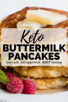 Buttermilk Pancake Recipe - Learn how to make the BEST tasting keto buttermilk Amazing flavor! Keto Buttermilk Pancake Recipe - Learn how to make the BEST tasting keto buttermilk Amazing flavor! Pancakes Nutella, Pancakes Vegan, Buttermilk Recipes, Buttermilk Pancakes, Pancakes Weight Watchers, Gum Recipe, Pancakes From Scratch, Paleo, Sugar Free Syrup