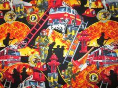 Realistic FireMen Firetrucks Ladder Cotton Fabric FQ door scizzors, $2.99 per fat quarter