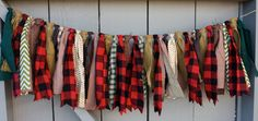 Lumberjack Fabric Bunting, Buffalo Plaid Burlap Banner Garland, Lumberjack Red & Black Plaid, Party Decor Photo Prop, Cabin Mountain Decor by AmpersandGO on Etsy https://www.etsy.com/listing/214190722/lumberjack-fabric-bunting-buffalo-plaid