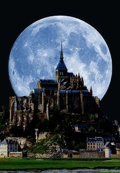 Full moon behind Mont Saint Michel, France