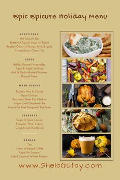 Holiday Recipes, Holiday Meals, Thanksgiving Holiday, Christmas, Epicure Steamer, Roasted Olives, Hot Spinach Dip, Appetizer Recipes, Appetizers