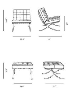 Dimensions for Rove Pavilion Chair & Ottoman Find Furniture, Furniture Upholstery, Furniture Design, Pool Table Room, Dining Table Dimensions, Chair Drawing, Dressing Room Design, Interior Sketch, Barcelona Chair