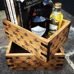 Working on some bigger box / crate things to keep our essential cookery stuff in. What do you think of our Bee / Crown design? All finished in Annie Sloan Dark Wax. Bee Hives Boxes, Bee Boxes, Delia Smith, Little Paris, Mary Berry, Dark Wax, Annie Sloan Chalk Paint, Bee Keeping, Girl Scouts
