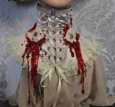 Victorian neck-corset  - Vampire neck-corset - Neck-corset with lace - Neck-corset with blood - Corset with blood - Ivory neck-corset