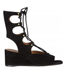 Lace-Up Suede Wedge Sandals via @WhoWhatWear