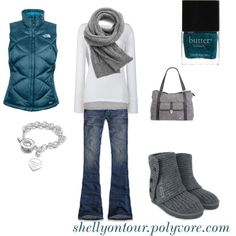 LOve the vest color and the bag - everything!