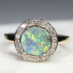 Natural Australian Boulder Opal and Diamond  Gold Ring - Size 6.25 Code - JGR773 Gold Diamond Rings, Gold Rings, Gemstone Rings, Opal Color, Australian Opal, Opal Jewelry, Bouldering, Natural Diamonds