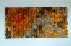 Large Rustic Art wood wall sculpture abstract painting on