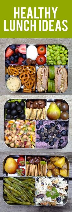 Healthy Lunch Ideas: bean salad, olives, coconut milk yogurt, pear, black cherry tomatoes, crackers, chocolate covered cherries